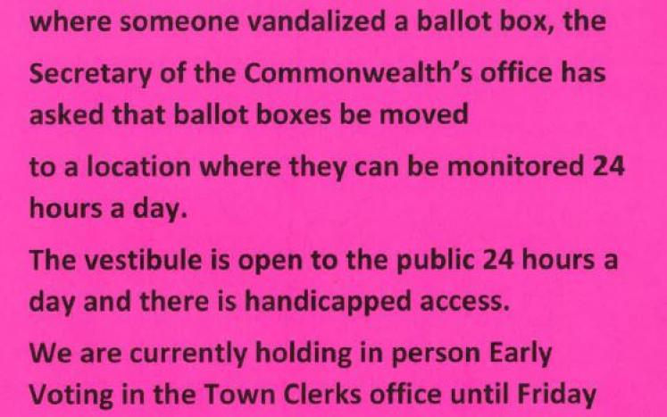 Ballot Box moved from Town Hall to the Police Station Vestibule